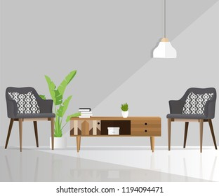 Furniture for the home. Interior. Armchair, bedside table, pot, books, lamp