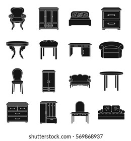 Furniture and home interior set icons in black style. Big collection of furniture and home interior vector symbol stock illustration