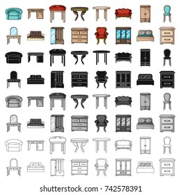 Furniture and home interior set icons in cartoon style. Big collection of furniture and home interior vector symbol stock illustration