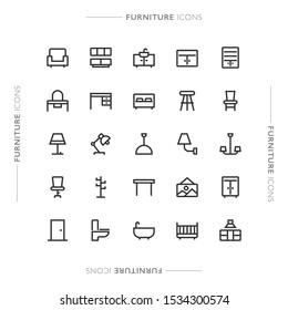 Furniture and Home Minimalistic Modern Line Icons