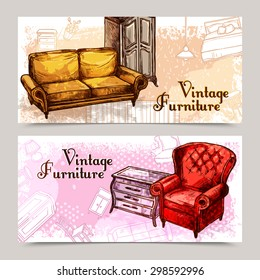 Furniture horizontal banner set with sketch sofa and armchair isolated vector illustration