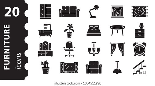 Furniture icon set and home decor. Pictogram collection