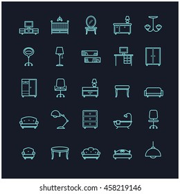 furniture icon set on a black background for your design