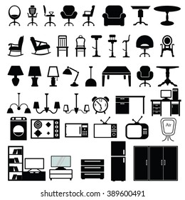 Furniture Icon Set Vector Illustration on the white background.