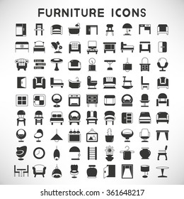 furniture icons, furniture design, vector set of home decor