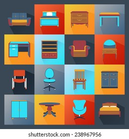 Furniture icons flat set with wardrobe mirror computer table isolated vector illustration