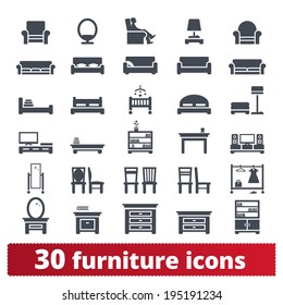 Furniture icons: hallway, dining, living room and bedroom vector set.