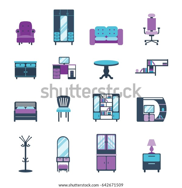 Furniture Icons Home Design Modern Living Stock Vector Royalty Free 642671509
