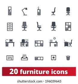 Furniture icons: office, private workplace and workspace vector set.