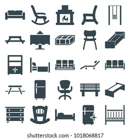 Furniture icons. set of 25 editable filled furniture icons such as garden bench, sofa, baby bed, nightstand, chair, clean fridge, office chair, table, bed, bench, cupboard