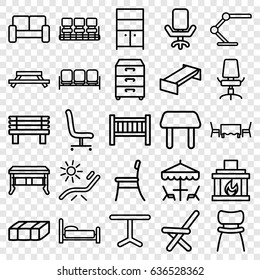 Furniture icons set. set of 25 furniture outline icons such as sofa, garden bench, baby bed, table, chair, sunbed, wardrobe, bench, outdoor chair, office chair, table lamp