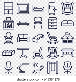 Furniture icons set. set of 25 furniture outline icons such as sofa, garden bench, baby bed, sunbed, clean fridge, office chair, swing, table, outdoor chair, table lamp