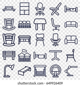 Furniture icons set. set of 25 furniture outline icons such as sofa, bed, garden bench, baby bed, table, chair, bench, swing, outdoor chair, office chair, table lamp, cupboard