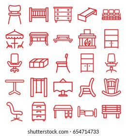 Furniture icons set. set of 25 furniture outline icons such as garden bench, baby bed, nightstand, chair, wardrobe, office chair, office desk, bench, swing, table