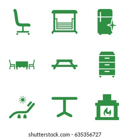 Furniture icons set. set of 9 furniture filled icons such as sunbed, clean fridge, swing, table, office chair, nightstand, fireplace