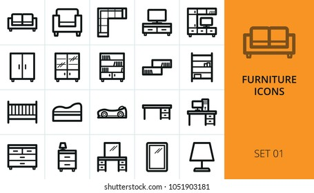 Furniture icons set. Collection of sofa, armchair, wardrobe, baby crib, bedroom table, interior