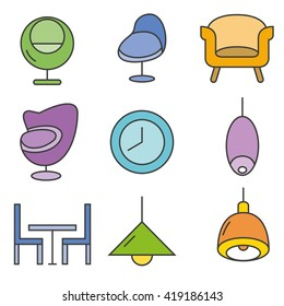 furniture icons set, home decor icons