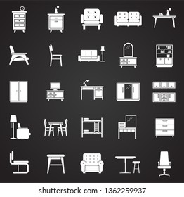 Furniture icons set on black background for graphic and web design. Simple vector sign. Internet concept symbol for website button or mobile app