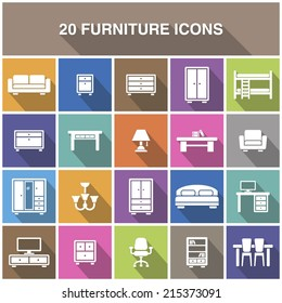 Furniture icons with shadow.
