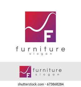 furniture initial Letter F Logo design