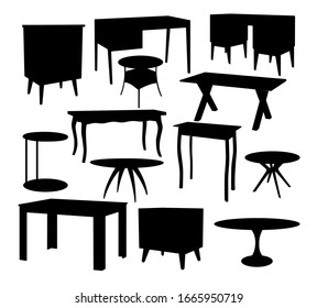 The furniture is insulated. Different tables. Black silhouettes on white background.