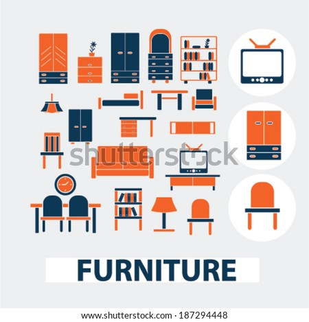 Furniture Interior Design Icons Signs Elements Stock Vector Royalty