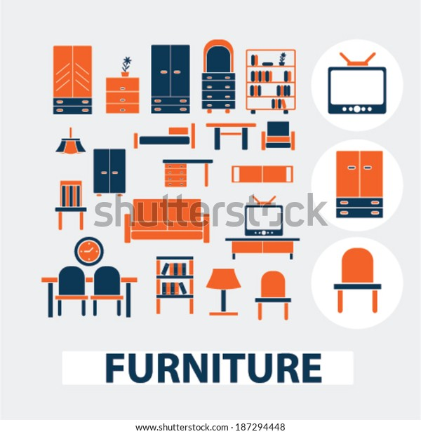 Furniture Interior Design Icons Signs Elements Stock Vector Royalty Free 187294448,Best Decorated Homes For Christmas