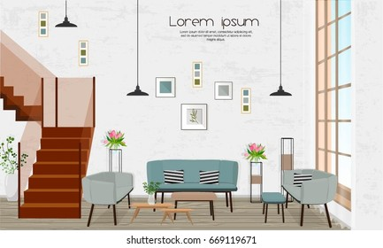 Furniture. Interior design. Living room with sofa, stairs, window.