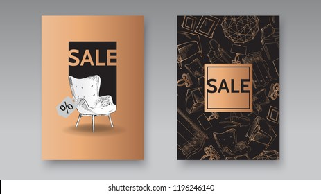 furniture and interior detail store, apartment, promotion, sale, ads, banner sketch hand drawn vector