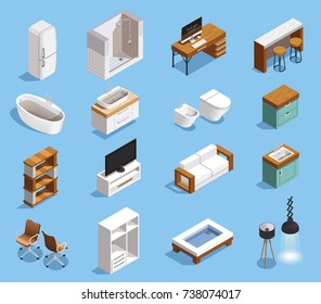 Furniture interior elements isometric set of stylish isolated domestic furniture and household appliance images with shadows vector illustration