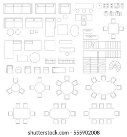 Furniture and interior elements line symbols for living room. Big set of interior icons in top view.