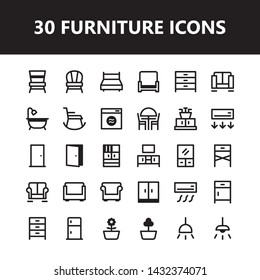 Furniture interior icon set vector isolated with outline style