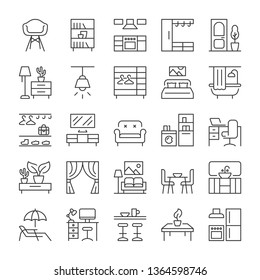 Furniture and interior icons set. Line style