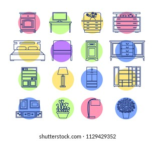 furniture interior line art. icons