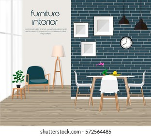 Furniture. Interior. Living room with sofa, table, lamp, pictures, window. The dining room and living room