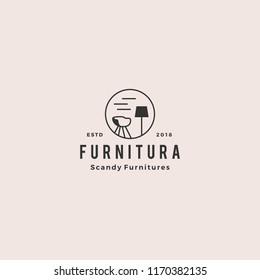 furniture interior logo hipster vintage retro vector icon illustration