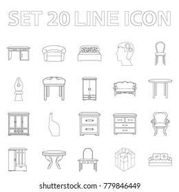 Furniture and interior outline icons in set collection for design.Home furniture vector symbol stock web illustration.