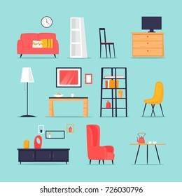 Furniture in the interior set. Flat vector illustration in cartoon style.