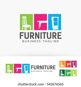 Furniture, interior, shop, market, home. Vector logo template