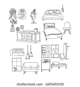 Furniture isolated objects, traced sketches , vector