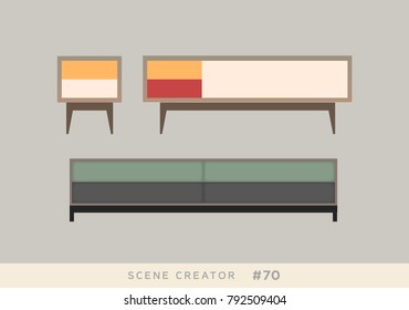 Furniture isolated vector objects