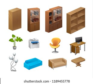 Furniture Isometric icons. Vector Illustration.Office furniture set cupboard folder shelf storage closet cabinet chest locker element flat 3d isometry. concept web infographics vector illustration.