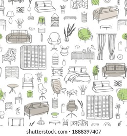 Furniture, lamps and plants for the home. Vector  seamless pattern