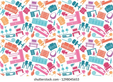 Furniture and the lighting equipment background. Seamless pattern