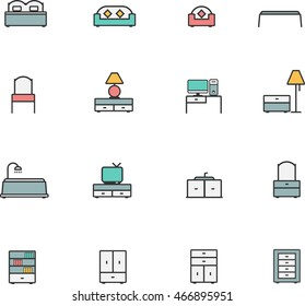 Furniture line color icons set