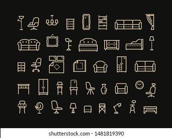 Furniture, line icon set. Collection outline logo for mobile apps web or site design. Interior vector illustration