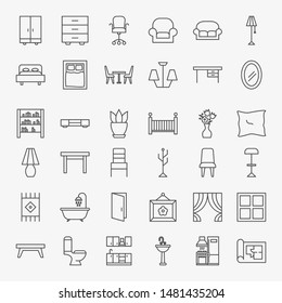 Furniture Line Icons Set. Vector Thin Outline House Symbols.