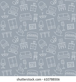 Furniture linear icons seamless pattern background endless texture illustration vector