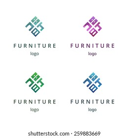 Furniture logo design concept. Different colors variant. Perfect for your business!