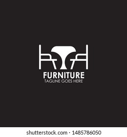 Furniture logo design with using chair, sofa, and table icon logo design